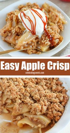 The only Apple Crisp Recipe you'll ever need – Tender apples topped with an easy brown sugar oat topping. Watch it disappear! The only Apple Crisp Recipe you'll ever need – Tender apples topped with an easy brown sugar oat topping. Watch it disappear! Apple Crisp Without Oats, Apple Crisp Topping, Apple Crisp Pie, Caramel Apple Crisp, Apple Crisp Easy, Apple Crisp With Oatmeal, Apple Crips, Apple Crisp Recipe Without Flour, Apple Crumble With Oats