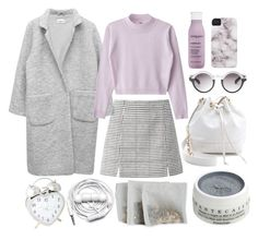 """where are u"" by aaalexg ❤ liked on Polyvore featuring Ganni, WGACA, Living Proof, Monki, Chantecaille and Urbanears"