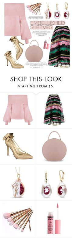 """Make a Statement: Embellished Sleeves"" by littlehjewelry ❤ liked on Polyvore featuring WithChic, Valentino, Menbur, BUwood, Charlotte Russe, contestentry, pearljewelry, littlehjewelry and embellishedsleeves"