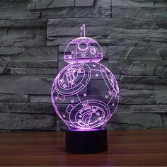 3D Star Wars Led Mood Lamps BB-8 AT-AT Darth Vader Yoda Storm Trooper X-Wing