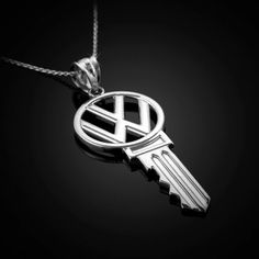 White Gold VW Volkswagen Key Pendant Necklace 10k by KarmaBlingz