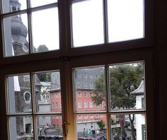 """View of lovely Monschau village with footbridge from market square to stone church with onion steeple, and to the """"red house"""". Onion, Germany, Stone, Red, House, Image, Rock, Onions, Deutsch"""