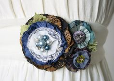 Navy and Teal Fabric Flower Corsage Dress Pin