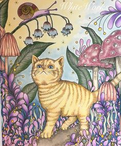 """""""Brave Kitty"""" Dagdrommar Hanna Karlzon Adult coloring Adult coloring"""