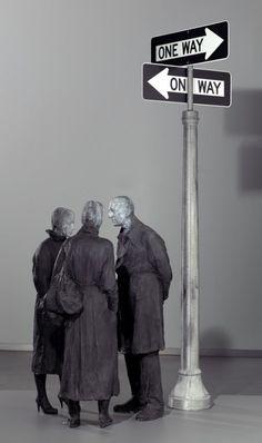 GEORGE SEGAL, CHANCE MEETING, 1989 Line Sculpture, Sculpture Ideas, James Rosenquist, George Segal, Claes Oldenburg, Neon Words, Pop Art Movement, Robert Rauschenberg, Jasper Johns