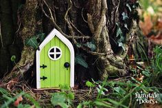 Fairy Door 'Mara' in Green - Green Fairy door - Fairy door for tree - Miniature door - Fairy garden - Fairytale door - Tooth Fairy door Fairy Doors On Trees, Fairy Garden Doors, Fairy Garden Supplies, Fairy Door Kit, Tooth Fairy Doors, Gnome Door, Painted Clay Pots, Hand Painted, Fairy Garden Accessories