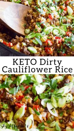 Dirty Keto Cauliflower Rice Recipe with Venison Low Carb GrainFree GlutenFree THM S This Dirty Cauliflower Rice recipe is a keto spin on the classic Creole dish Simple q. Keto Foods, Ketogenic Recipes, Paleo Diet, Healthy Recipes, Beef Recipes, Keto Veggie Recipes, Veggie Food, Gluten Free Recipes Low Calorie, No Carb Dinner Recipes