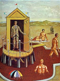 The Mysterious Bath, 1938 by Giorgio de Chirico. Metaphysical art. allegorical painting. Private Collection
