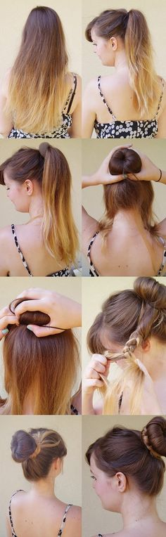 Nothin' Fancy. Really.: Easy hairstyle tutorial: The Braided Donut Bun.