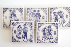Vintage Italian tiles - couples in traditional Austrian costumes. Blue/purple on white. Perfect kitchen decor or small drink coasters.