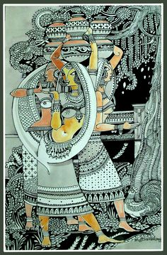 Madhubani Art, Madhubani Painting, Phad Painting, Kalamkari Painting, Art N Craft, Craft Work, Dark Art Drawings, Indian Folk Art, Indian Art Paintings