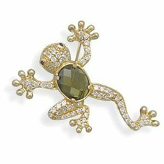 Tree Frog Pin Brooch Pendant Slide 14K Gold Over Sterling Silver With Cubic  Zirconia AzureBella Jewelry
