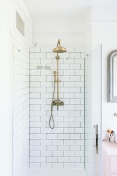 Antique Brass Shower Head And Metro Tiles - Image By Adam Crohill Upstairs Bathrooms, Small Bathroom, Master Bathroom, Compact Bathroom, Loft Bathroom, Tiny Bathrooms, Beach Bathrooms, Ikea Bathroom, Brass Shower Head