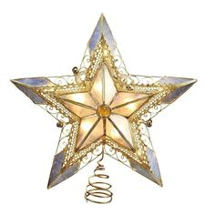 """""""Beautiful gold star tree topper from Kurt Adler is a stunning addition to your Christmas tree. Wired gold creates a stately star designthat is lit from within with a soft glow. This star measures 8"""""""