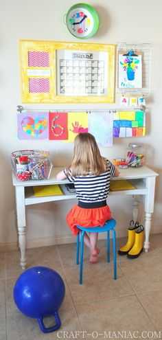 Kids Art and Homework Station #Home #DIY #Organization