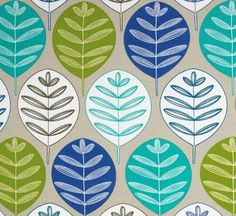 Outdoor/ Indoor ~ Upholstery ~ Retro Abstract Leaves ~ Multi  ~  Fabric