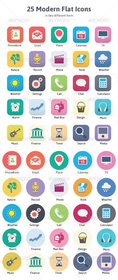 Modern Flat Icons  #GraphicRiver         25 Modern Flat Icons in two different form. Features Available in: EPS 10 and AI Adjustable to any size Easy To Customize Size & Color Easy & Fast Editing Any Objects Icon list: Phonebook Email Place Calendar TV Nature Record Movie Note Weather Settings Call Chat Calculator Alarm Finance Mailbox Design Music Timer Search Media     Created: 16September13 GraphicsFilesIncluded: VectorEPS #AIIllustrator HighResolution: Yes Layered: Yes…