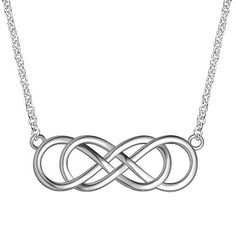 Large Double Infinity Symbol Charm and Chain, Best Friends Forever Charm, Sisters Charm, 10mm x 30mm, 18 inches total in Sterling Silver Infinity Jewelry. $122.95