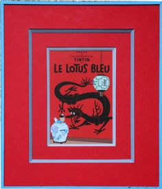 Atelier l'Ecoinçon : Double passe partout en relon rouge sur biseau anglais pour cette carte de Tintin et fermeture à onglet.