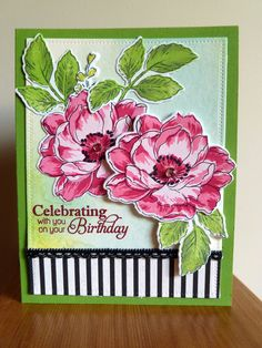 pink & green birthday card - Altenew A Beautiful Day Altenew Cards, Stampin Up Cards, Flower Stamp, Flower Cards, Card Making Inspiration, Making Ideas, Altenew Beautiful Day Cards, Watercolor Cards, Copics