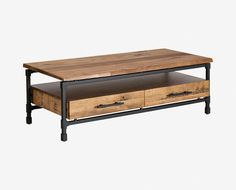 Scandinavian Designs - The Karsten coffee table offers versatile and charming style with rustic industrial materials. Crafted from natural wood and powder-coated steel, it boasts a large profile with two large drawers for storage.