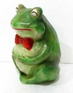 Ceramic green Frog with red bow tie