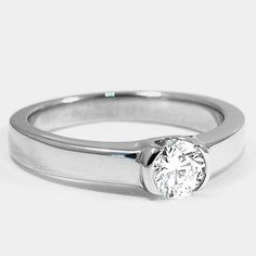 Platinum Semi-Bezel Ring // Set with a Carat, Round, Super Ideal Cut, D Color, IF Clarity Diamond So pretty! Diamond Rings, Diamond Engagement Rings, Earth Rings, Jewelry Rings, Jewellery, Bezel Ring, Brilliant Earth, Clarity, Beautiful Things