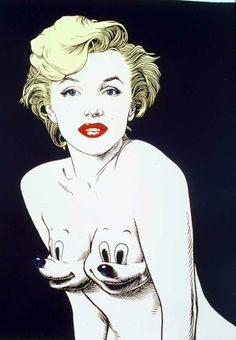 painting marilyn cartoon by Ron English