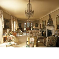 The drawing room at Arundel Park, decorated by John Fowler and designed round three capricii by Canaletto, commisioned for Norfolk house in 1750. The house was built in 1958-62 by Claud Phillimore in the grounds of Arundel Castle. Published Country Living 20/06/1996