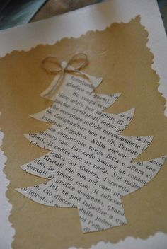 Cute, simple idea for Christmas!  Could adapt to 3x3 card with book page behind the punched out silhouette of a tree...