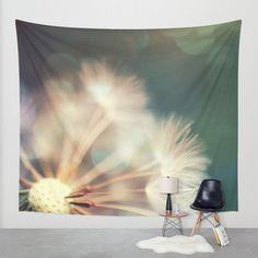 Löwenzahn Wandbehang, skurrilen Wandbehang, Natur-große Wand-Dekor, machen eine Wunsch Foto Wandbehang, modernes Dekor, Bokeh Wand hängend, verträumt, grün
