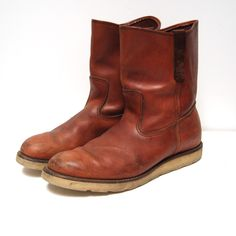 old redwing boots   vintage COGNAC irish setter RED WING pecos boots made in U.S.A. mens ...