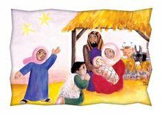 Postal   Chegada dos Pastores  Postal integrante da colecção Crianças. Ilustração de Miren Sorne