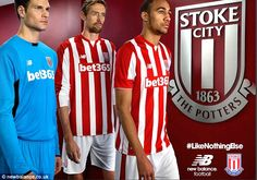 Peter Crouch (centre) and Steven Nzonzi model the new Stoke City home kit, while Asmir Begovic shows off the New Balance goalkeeper strip to be used during the 2015-16 season
