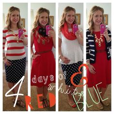Red white and blue. I love all of these fourth of July outfits but i absolutely love the first and last ones!
