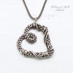 Wire Jewelry sterling silver wire wrapped heart necklace by Pillar of Salt Studio - Shop handcrafted artisan jewelry with an earthy boho vibe. Silver Necklaces, Sterling Silver Jewelry, Silver Earrings, Silver Ring, Silver Jewellery, 925 Silver, Heart Necklaces, Silver Bangles, Gemstone Earrings
