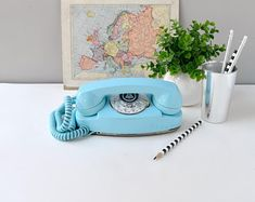 Rotary dial princess phone in yellow working rotary dial Aqua, Teal, Turquoise, Orange Phone, Retro Phone, Vintage Phones, Clean And Shiny, Old Phone, Type Design