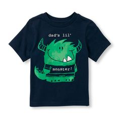 Toddler Boys Short Sleeve 'Dad's Lil' Monster' Graphic Tee