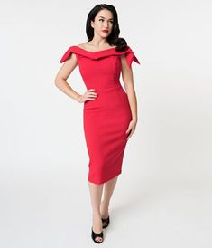 aa14ca1d189 The Pretty Dress Company Red Off The Shoulder Tilly Pencil Dress