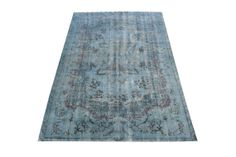 5.24ftx8.20ft Overdyed Distressed Blue Green Vintage Hand Woven Turkish Decorative Rug, Free Shipping AH0025