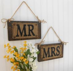 Chair decor wall decoration MR MRS twine hanger burlap wooden  WEDDING signs