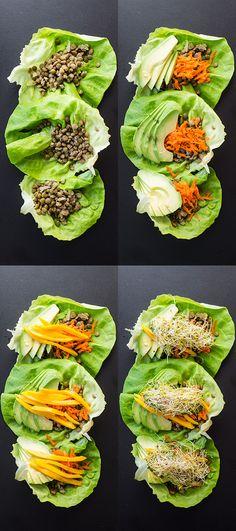 Vegan Lentil Lettuce Wraps by greenhealthycooking: Quick, easy, and healthy. #Lettuce_Wraps #Vegan