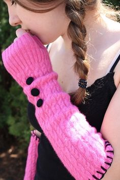 *Inspirational*....Looks simple to make..Recycle!........................Arm Warmers  Made from Recycled Wool Sweater   by awoolgatherer, $30.00