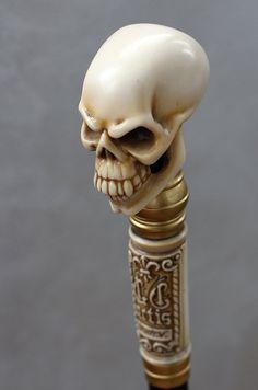 ✓ Gothic Skull Walking Stick with Bone effect handle, by  Vladimir Vovk, Etsy (GCArtis) -- $59.00 + $22.50