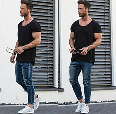 Black tee blue jeans whiteshoes perfect