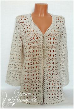 Crochet Cardigan Sweater Pattern made from two hexagons - free pattern! Zig Zag Crochet, Crochet Jacket Pattern, Crochet Coat, Crochet Blouse, Crochet Clothes, Crochet Lace, Colette Patterns, Clothing Patterns, Sweaters