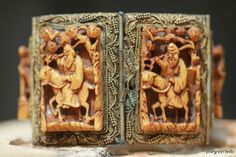 Amazing Vintage chinese Export bracelet that is set with carved Ivory and decorated with cloisonne.