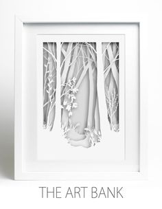 Framed Paper-cut  Woodland Scene, White on white, triple layered cut.