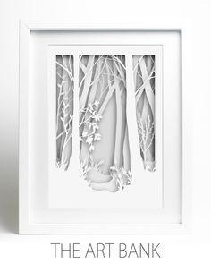Wir freuen uns, Ihnen unsere wunderschöne, neue Papier geschnitten Kunst anbieten zu können: Woodland-Szene, weiß auf weiß. BITTE BEACHTEN SIE, DASS