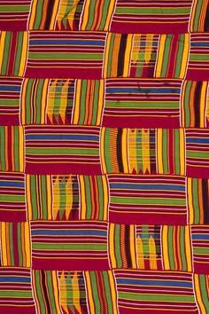 Africa   Detail from an Ashanti Kente strip woven cloth   Silk cotton mix